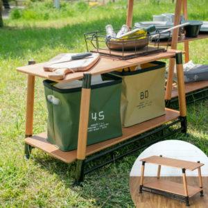 賢く収納!キャンプアイテムの荷物置き棚